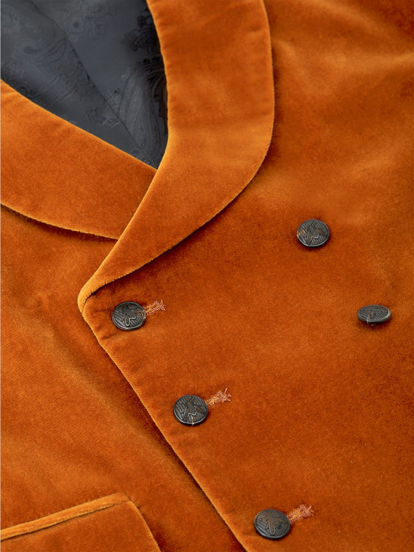 Rust Velvet Cotton Double Breasted 8 Button Shawl Lapel Waistcoat