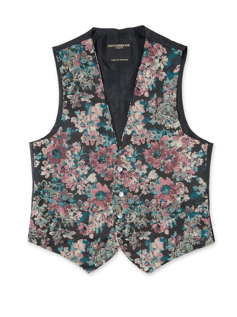 Pink Chatsworth Silk Blend Single Breasted 4 Button Piped Waistcoat
