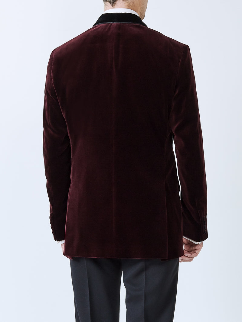 Burgundy Velvet Cotton Single Breasted Grosvenor Smoking Jacket