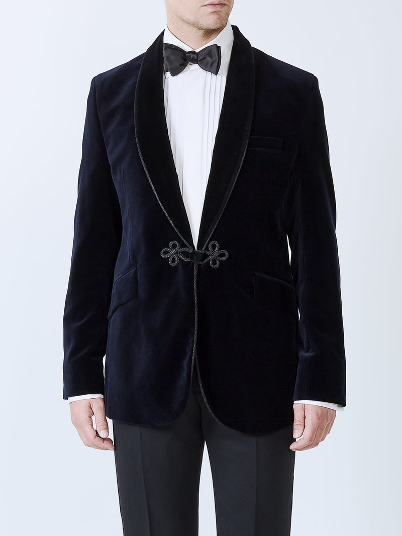 Navy Velvet Cotton Single Breasted Grosvenor Smoking Jacket