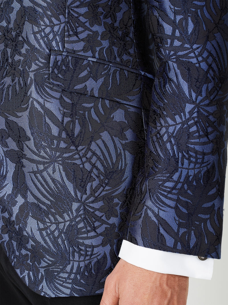 Navy Botanics Silk Dinner Jacket