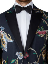 Navy Petersham Linen Embroidered Dinner Jacket