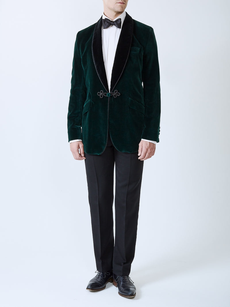 Racing Green Velvet Cotton Single Breasted Grosvenor Smoking Jacket