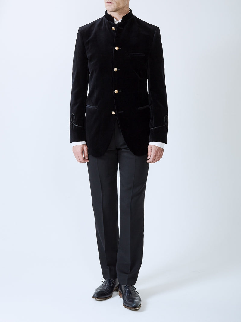 Black Velvet Cotton Nehru Jacket