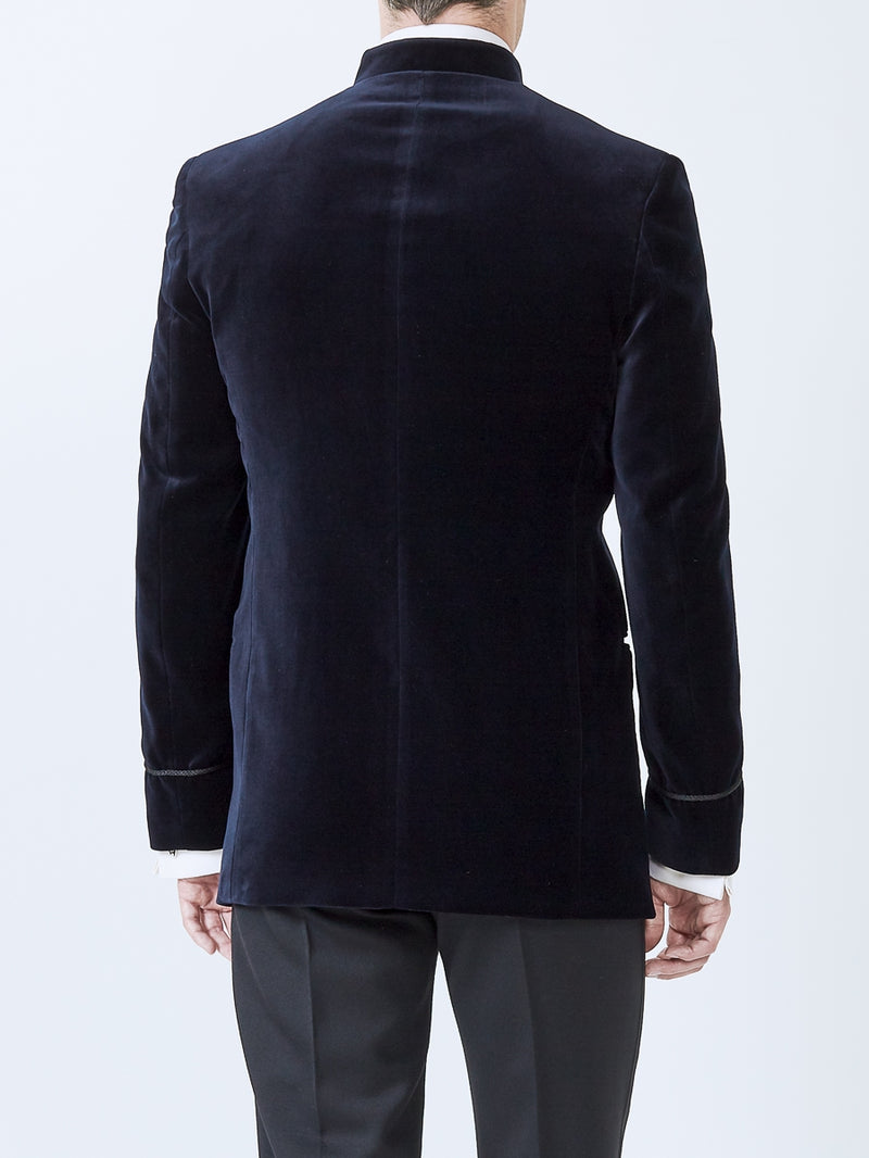 Navy Velvet Cotton Nehru Jacket