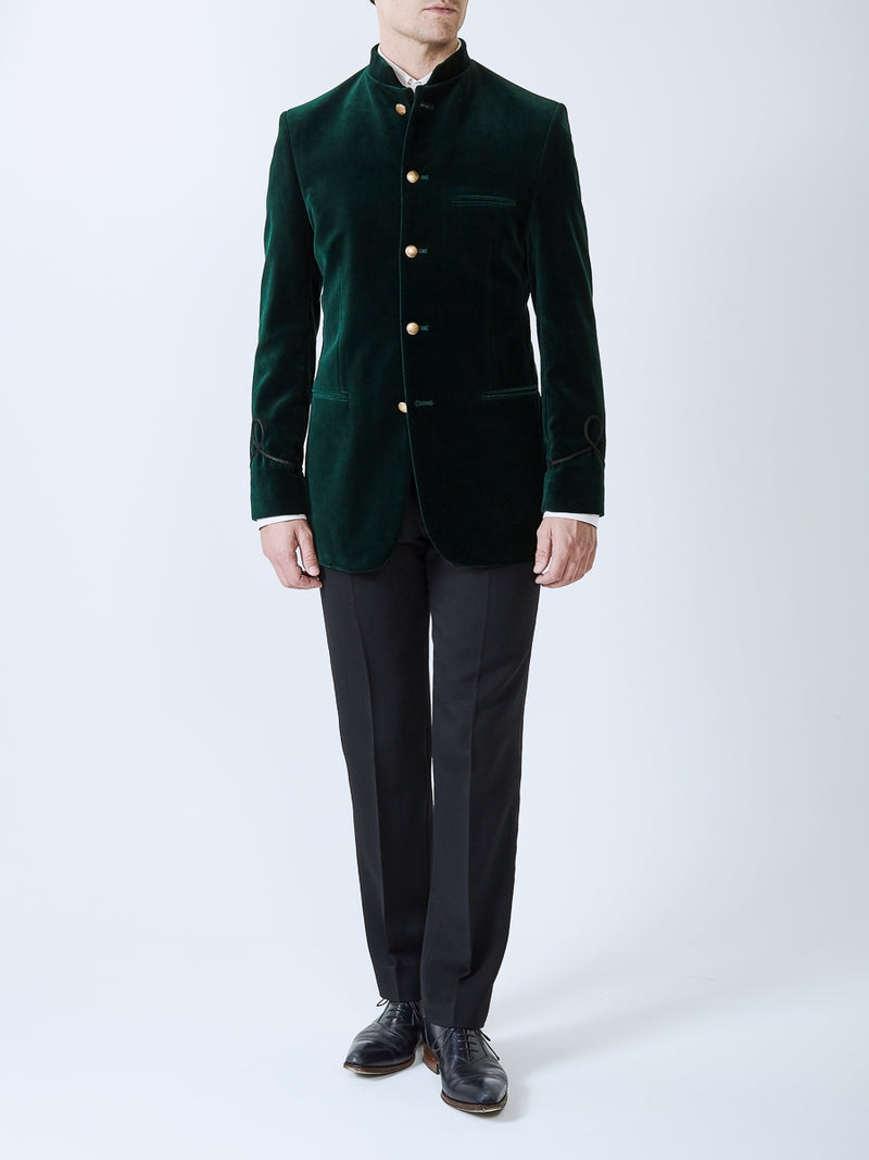 Racing Green Velvet Cotton Nehru Jacket