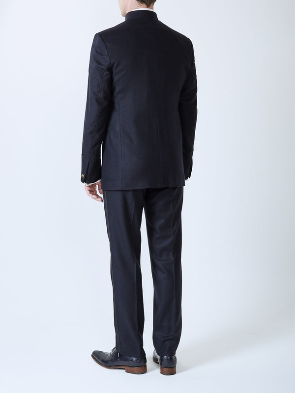Midnight Seaton Cashmere Wool Nehru Jacket