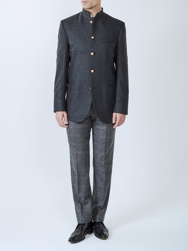 Charcoal Shaftesbury Cashmere Wool Nehru Jacket