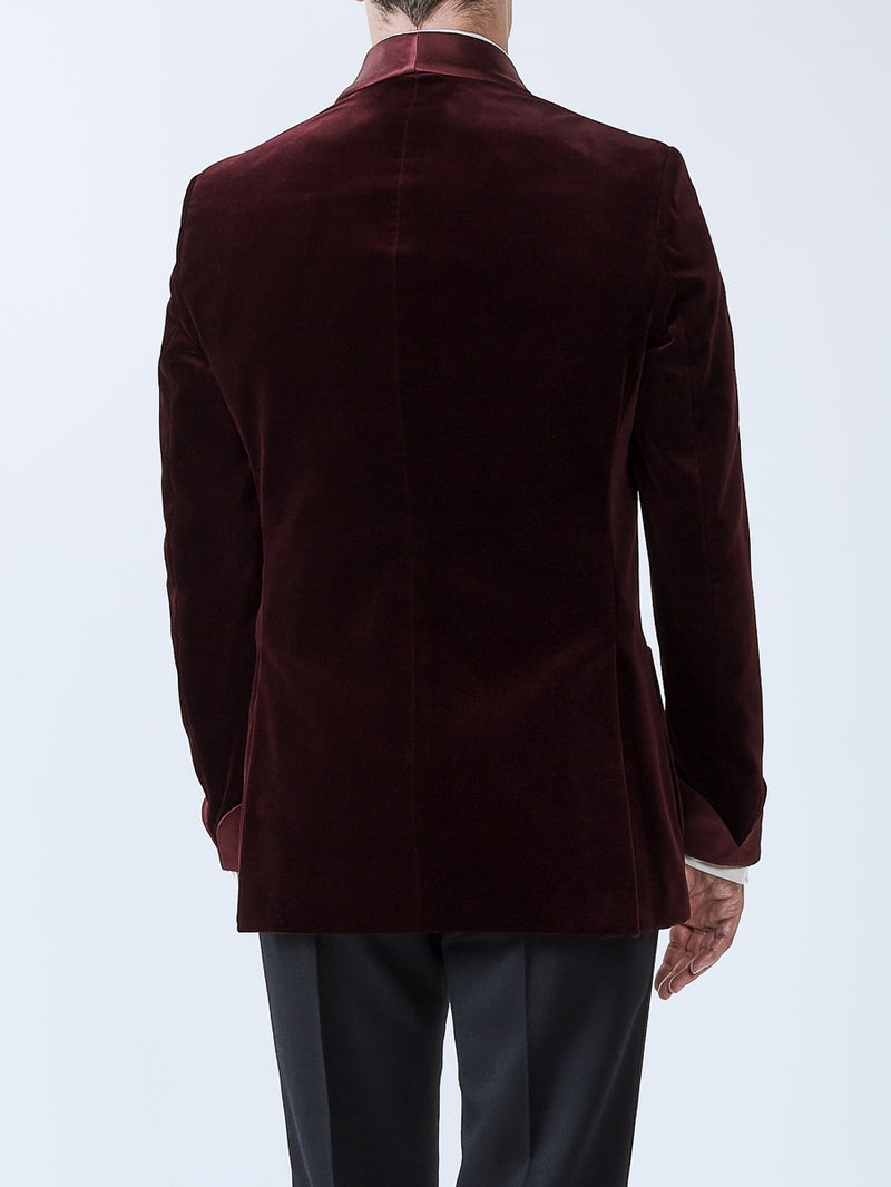 Burgundy Velvet Cotton Chaucer Jacket