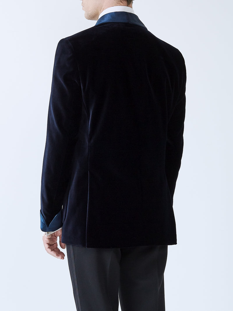 Navy Velvet Cotton Chaucer Jacket