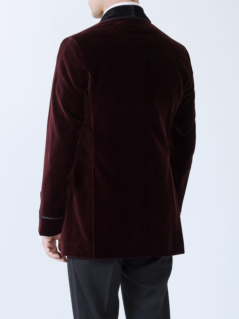 Burgundy Velvet Cotton Double Breasted Smoking Jacket