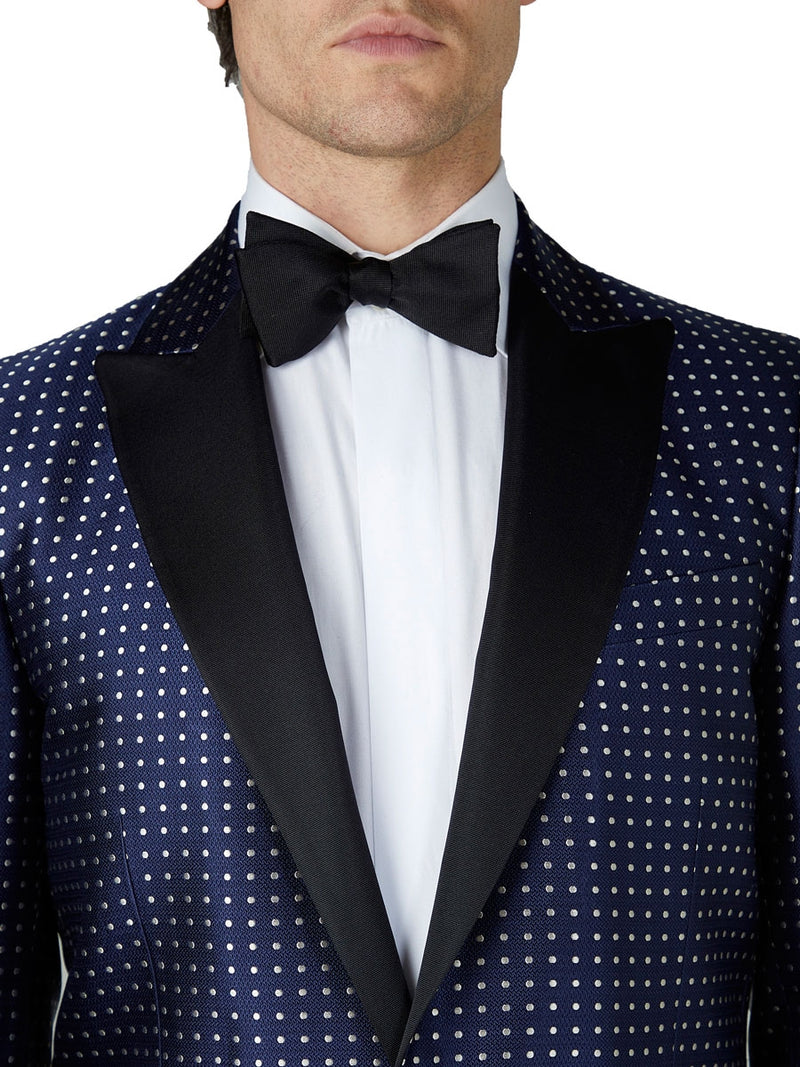 Navy Pickwick Silk Dinner Jacket