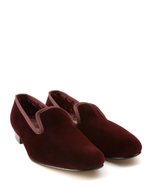 Wine Burgundy Velvet Cotton & Leather Slippers