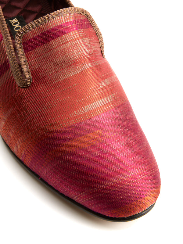 Rust Ikat Silk & Leather Slippers
