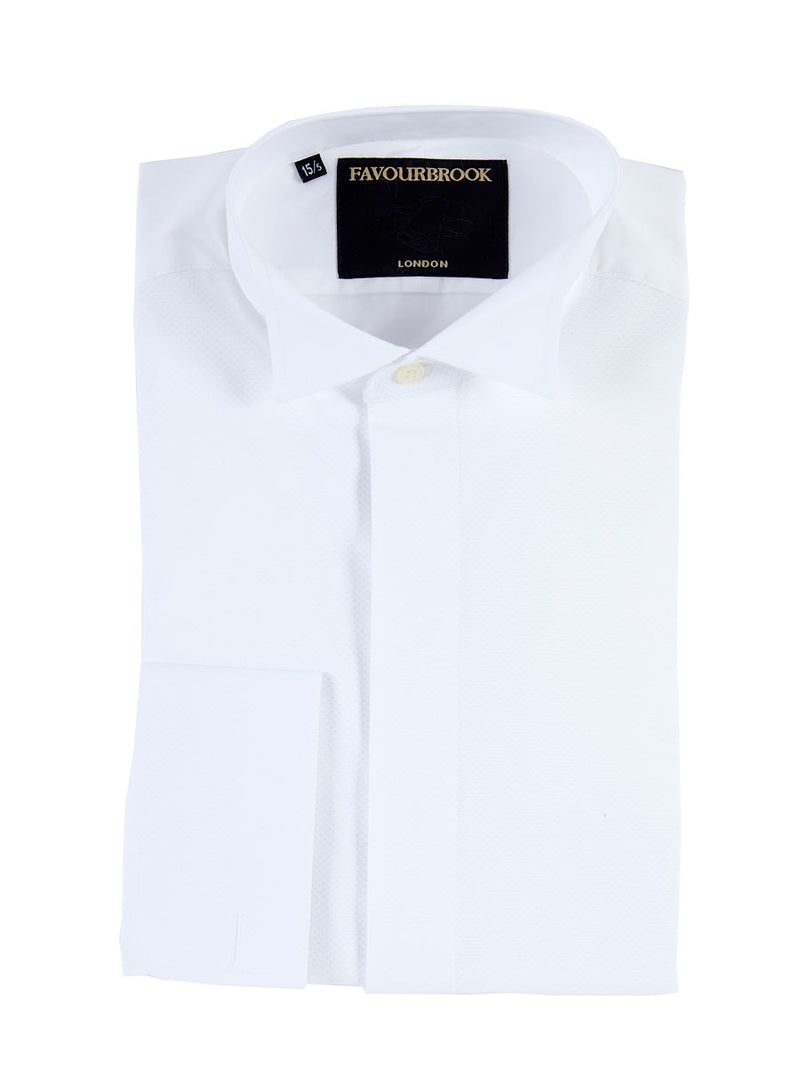 White Poplin/Marcella Cotton Wing Collar Dress Shirt