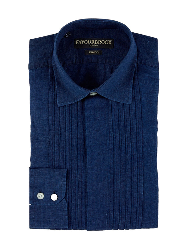 Indigo Rockwell Linen Pintuck Dress Shirt