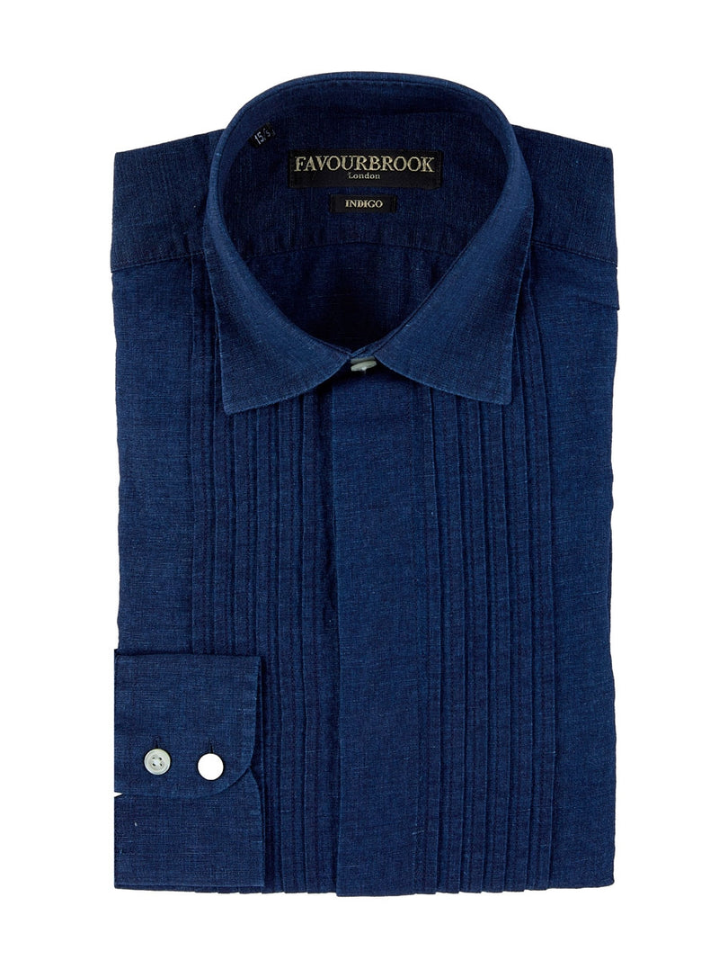 Indigo Rockwell Linen Pin tuck Dress Shirt