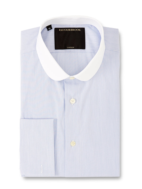 Blue Fine Stripe Cotton Penny Collar Shirt