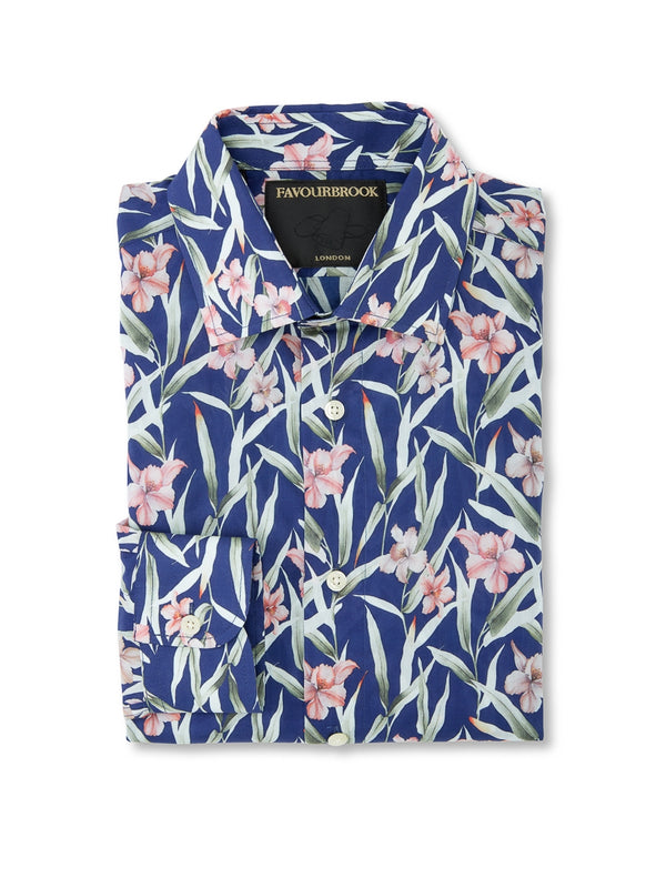 Navy/ Pink Eden Cotton Oratory Shirt