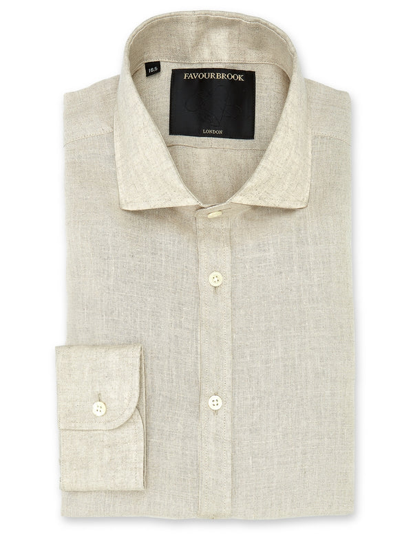 Natural Colne Linen Cutaway Collar Shirt