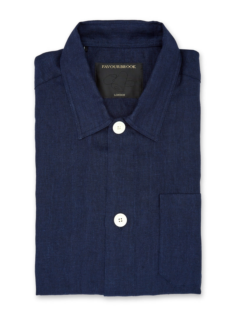Navy Ethan Linen Safari Shirt