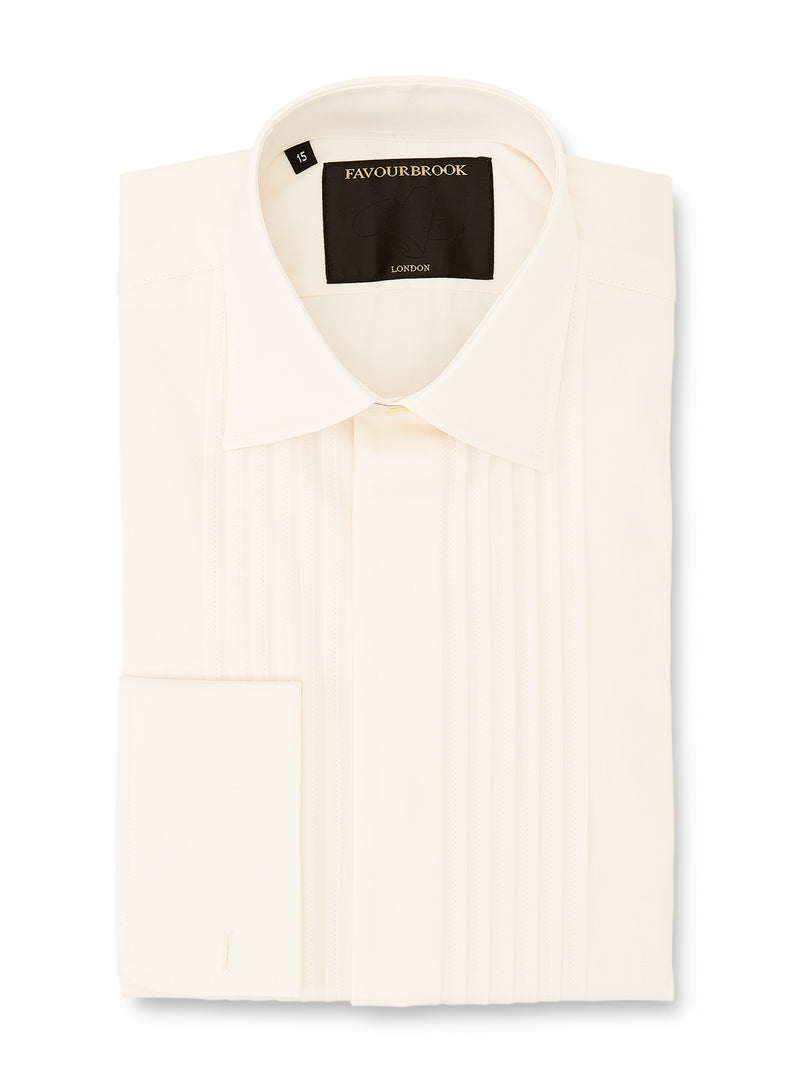 Ivory Poplin Cotton Pleated Pintuck Dress Shirt