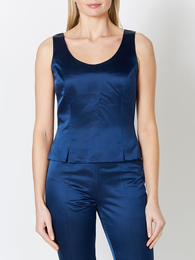 Shell Top Navy Duchesse Satin