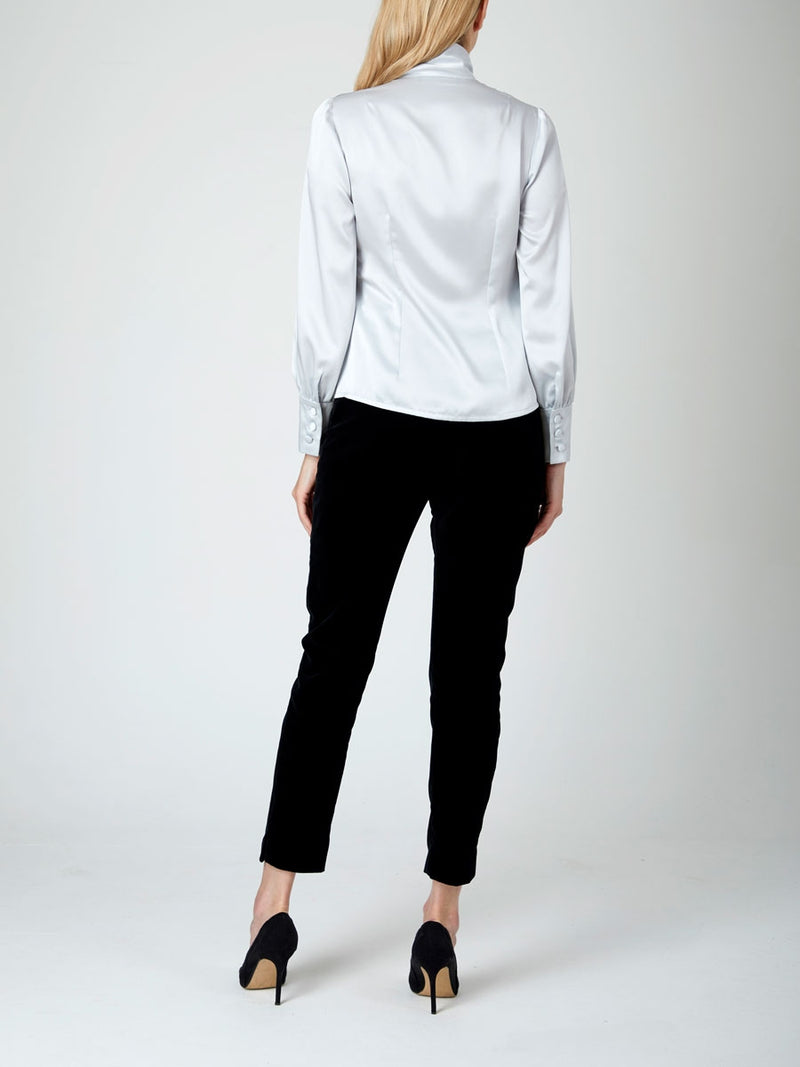 Megan Blouse Platinum Plain Estefania Satin