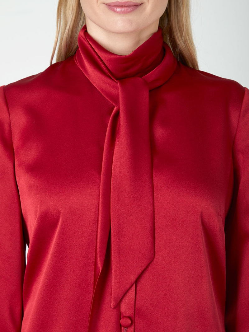 Megan Blouse Ruby Plain Estefania Satin