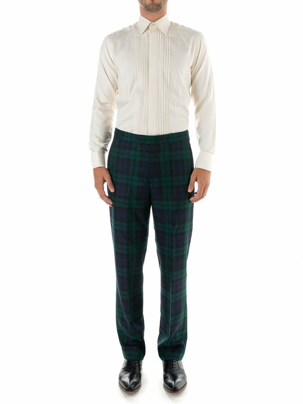 Navy Blackwatch Tartan Wool High Waisted Flat Front Trouser