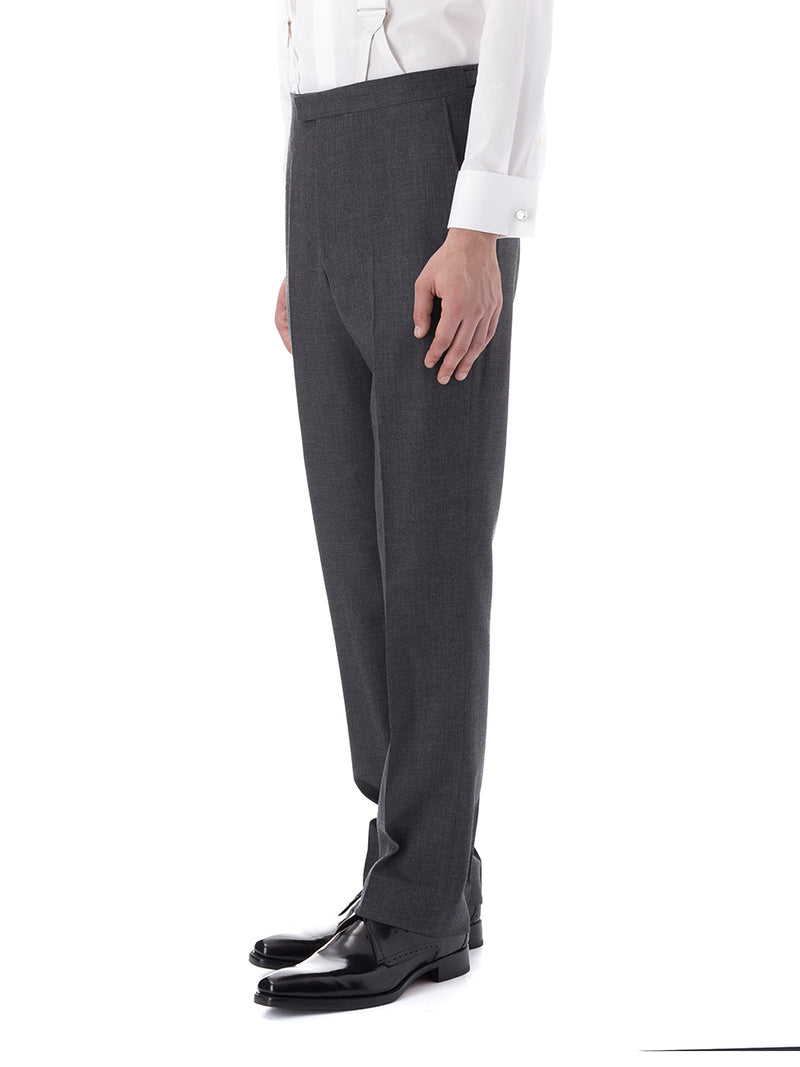 Charcoal Merino Wool Flat Front Trouser