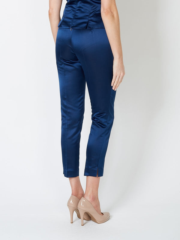 Navy Plain Duchesse Satin Cigarette Pants