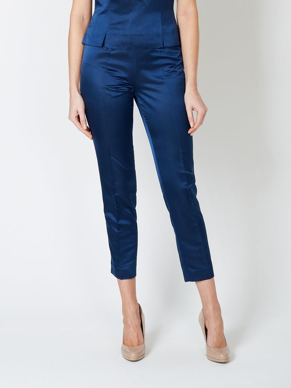 Cigarette Trousers Navy Plain Duchesse Satin