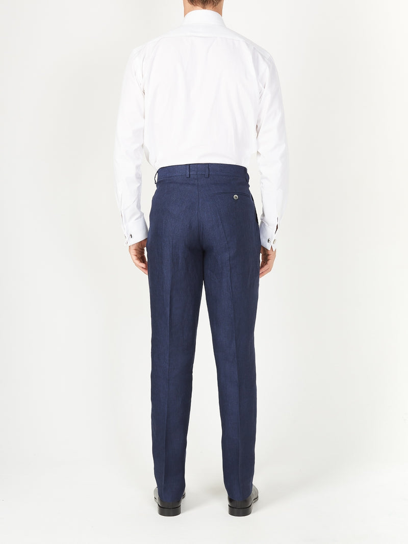 Navy Ethan Linen Windsor Trouser