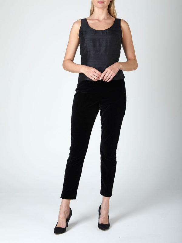 Cigarette Trouser Black Plain Velvet