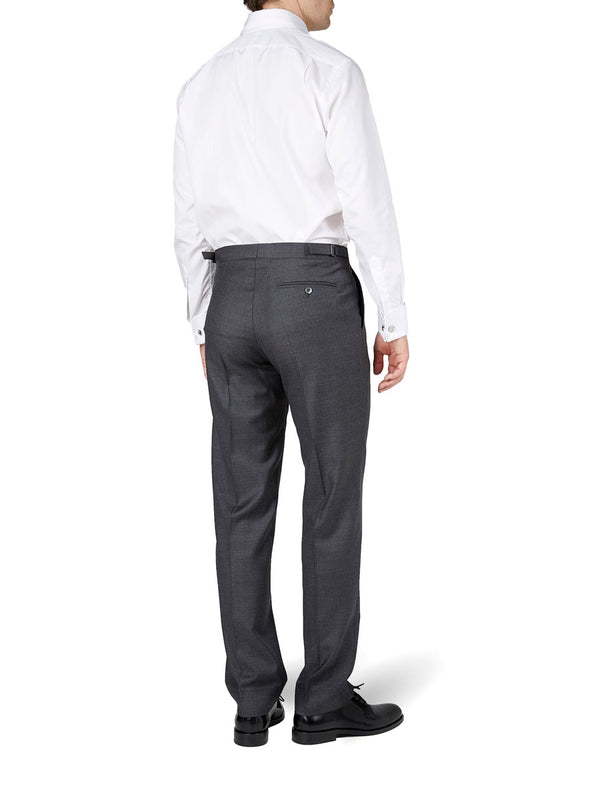 Charcoal Wellington Wool Flat Front Trouser