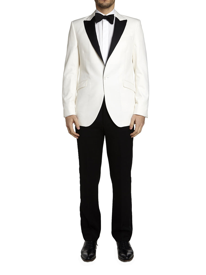 Ivory Theobold Cotton Dinner Jacket with Black lapels