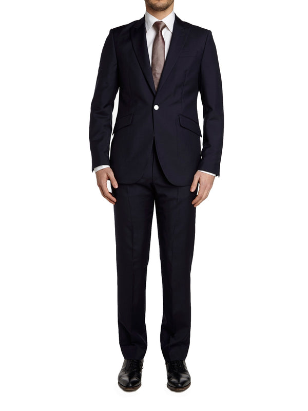 Navy Tonic Mohair Wool Flat Front Trouser