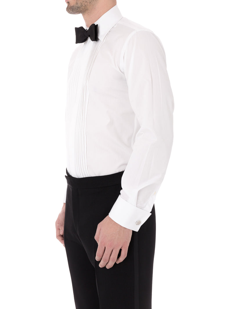 White Poplin  Pleated Pintuck Dress Shirt