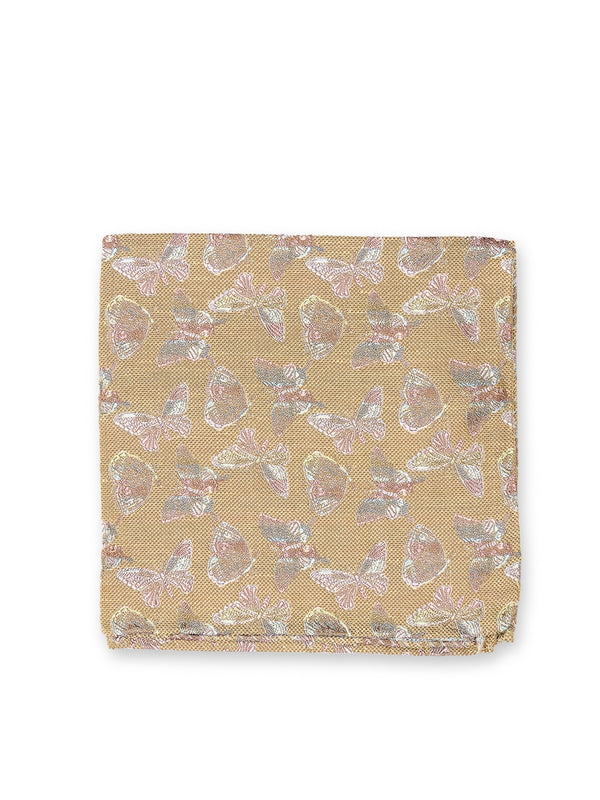 Victoria Champagne Silk Pocket Square