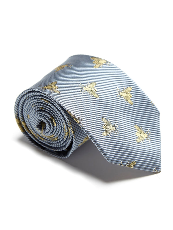 Powder Blue Bees Silk Tie
