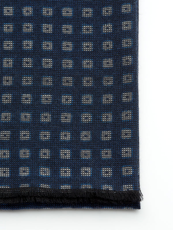 Navy Cube Wool Scarf