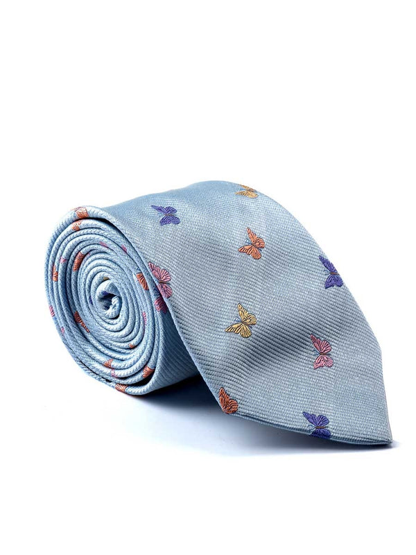 Pale Blue Butterfly Silk Tie