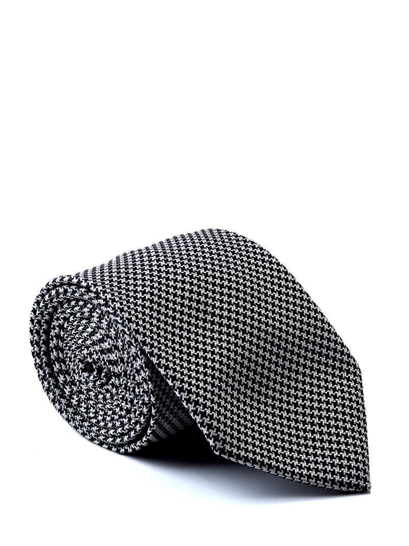 Charcoal Briand Check Silk Tie