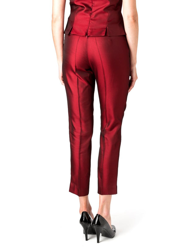 Cigarette Trouser Red Reverse Connaught Silk