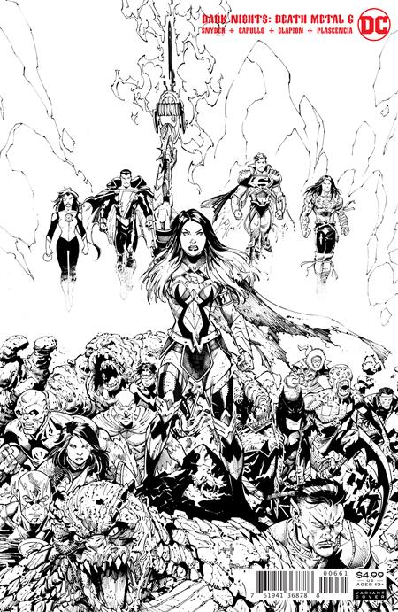 DARK NIGHTS DEATH METAL #6 (OF 7) INC 1:100 GREG CAPULLO BLACK & WHITE VAR (12/15/20)