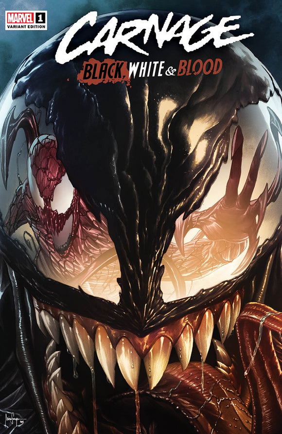 CARNAGE BLACK WHITE AND BLOOD #1 (OF 4) MICO SAUYAN ILLUMINATI EXCLUSIVE VAR (03/24/2021) SHIPS (04/10/2021)
