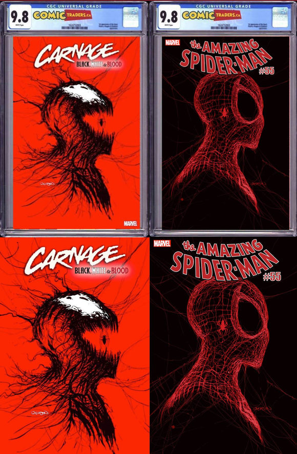 GLEASON MEGABUNDLE CARNAGE BLACK WHITE AND BLOOD #1 (OF 4) AMAZING SPIDER-MAN #55 2ND PRINT 2 X CGC 9.8 + 8 X RAW (10 BOOK TOTAL)