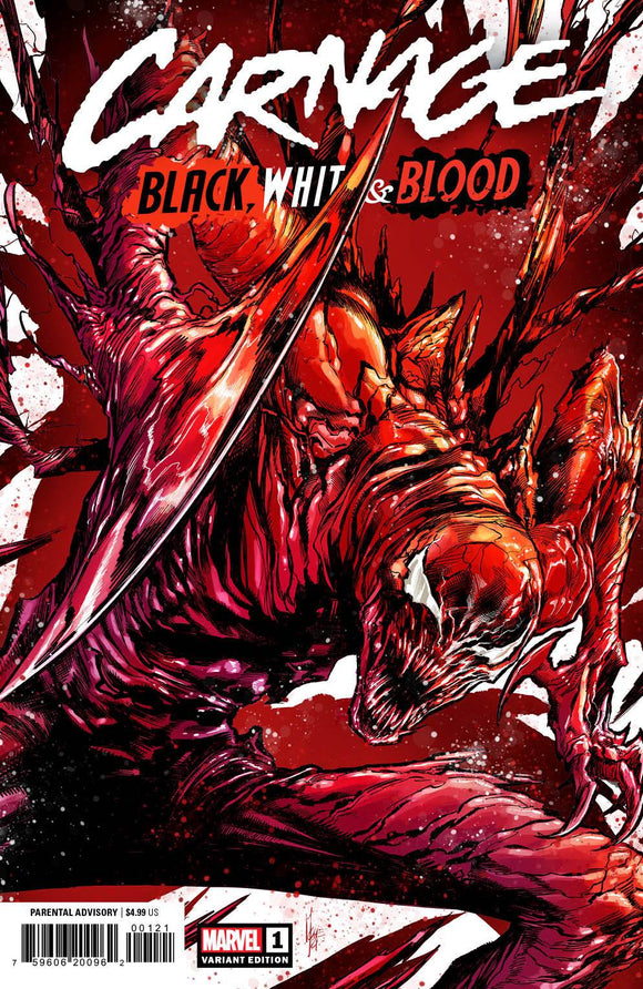 CARNAGE BLACK WHITE AND BLOOD #1 (OF 4) CHECCHETTO VAR 1:50 (03/24/2021) SHIP DATE (04/10/21) BACKISSUE