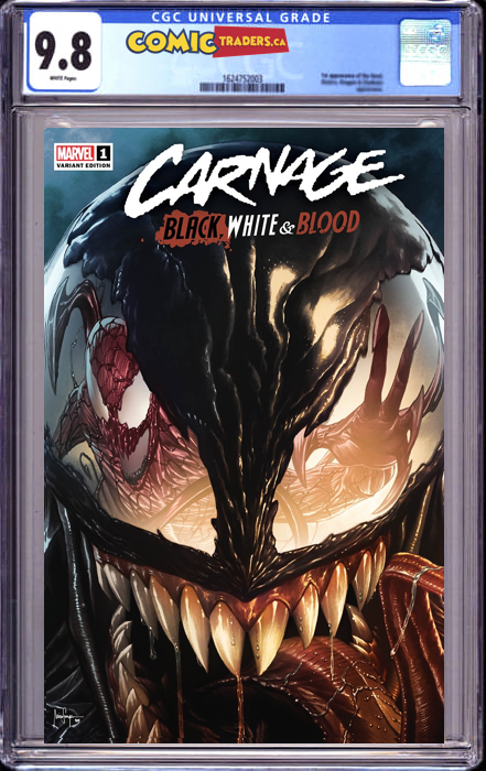CARNAGE BLACK WHITE AND BLOOD #1 (OF 4) MICO SAUYAN ILLUMINATI EXCLUSIVE VAR SHIPS (07/10/2021) CGC 9.8